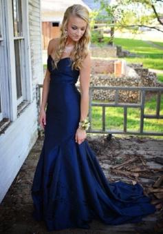 Gorgeous Sweetheart Sweep Train Royal Blue Mermaid Prom Dress