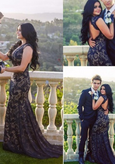 Elegant Mermaid Navy Lace Long Backless Prom/Evening Dress