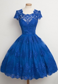 Vintage Scalloped-Edge Cap Sleeves Lace Blue Short Prom Cocktail Party Dress