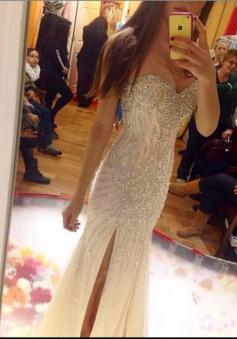 Mermaid Sweetheart Floor-Length Split-Side Champagne Tulle Prom Dress with Beading