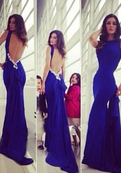Elegant Royal Blue Mermaid Backless Train Long Prom Dress
