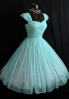 Vintage Sweetheart Turquoise Short 50s Chiffon Cap Sleeves Prom Dress/Homecoming Dress
