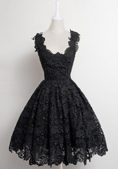 A-Line Scalloped-Edge Knee-Length 50s Vintage Black Lace Prom Homecoming Dress