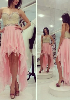 Gorgeous Beaded Strapless High-low Chiffon Homecoming Prom Dress