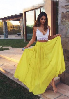 Sexy Two piece White Top Yellow Skirt V-neck Sleeveless Chiffon Long Prom Dress