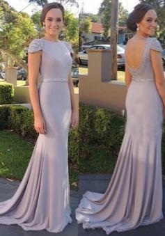 Elegant Bateau Cap Sleeves Sweep Train Backless Prom Dress with Beading