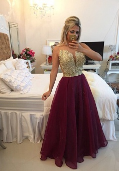 Elegant A-line Floor-length Chiffon Beading Prom / Evening Dress