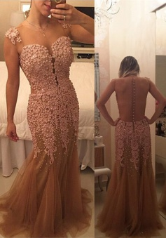 Gorgeous Long Illusion Back Champagne Prom Dress with Appliques Beading
