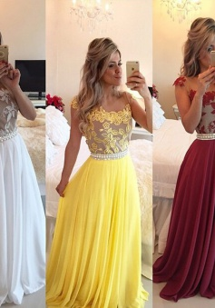 Elegant A-line Scoop Floor-length Beading Appliques Beading Prom/Evening Dress