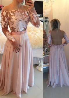 Elegant A-line Floor-length Illusion Back Prom Dress with Appliques Beading