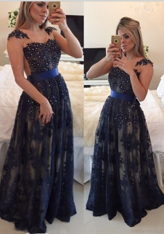Elegant A-line Scoop Floor-length Lace Beading Sash Prom / Evening Dress