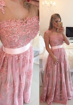 Timeless A-line Scoop Floor-length Lace Beading Sash Prom / Evening Dress