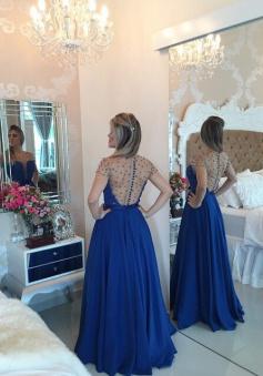 Gorgeous Scoop Floor-length Chiffon Beading Belt Prom / Evening Dress