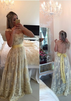 Hot-selling A-line Scoop Floor-length Lace Sash Prom / Evening Dress