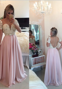 Elegant A-line Sweetheart Floor-Length Chiffon Beading Belt Prom / Evening Dress