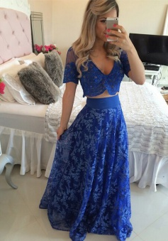 A-line V-neck 2 piece Lace Short Sleeves Appliques Royal Blue Prom Evening Dress