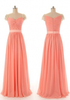 Elegant A-line Sweetheart Ruched Capped Sleeves Chiffon Beading Prom Dress