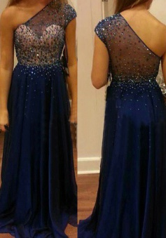 Modern A-line Floor-length One-shoulder Chiffon Beading Prom Evening Dress
