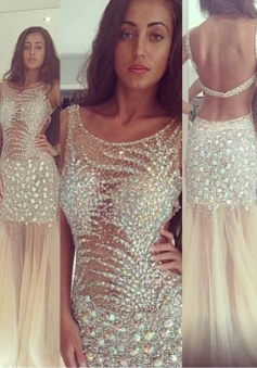 Modern Mermaid Scoop Floor-length Sleeveless Tulle Beading Prom/Evening Dress