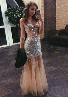 Mermaid Sweetheart Floor-length Tulle Beading Prom Evening Dress