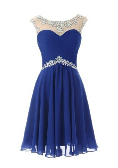 Hot-selling A-line Short Scoop Open Back Chiffon Homecoming Party Dress with Beaded