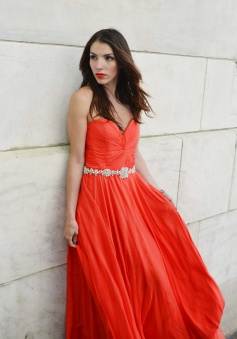 A-Line Strapless Floor-Length Orange Chiffon Prom Dress with Beading