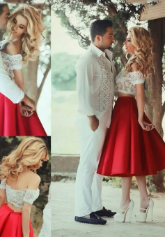 Two Piece Off-the-Shoulder Tea-Length Red Satin Prom Dress with Lace