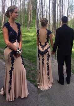 Gorgeous V-neck Appliques  Champagne Chiffon Long Prom Dresses Evening Gowns CHPD-70899