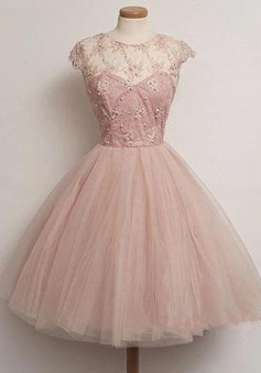 Vintage Scoop Knee-length Cap Sleeves Beaded Appliques Pink Homecoming Prom Dress