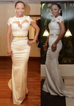 Elegant Mermaid Satin Prom Dress/Evening Dress-High Neck White with Gold Belt