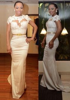 Elegant Mermaid Satin Prom Dress/Evening Dress-High Neck White with Gold Belt