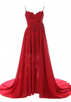 Simple A-line Sweetheart Spaghetti Straps Chiffon Long Prom Dress/Evening Dress With Court Train CHPD-70912