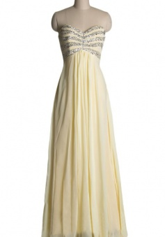 A-line Sweetheart Beading Floor-length Chiffon Zipper-up Prom Dress/Evening Dress