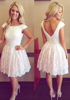 A-Line Crew Neck Cap Sleeves Short White Homecoming Dress with Appliques