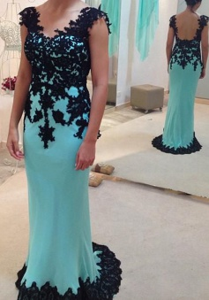 Column/Sheath V-neck Appliques Sleeveless Open Back Chiffon Prom Dress/Evening Dress CHPD-70934