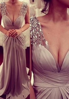 Modern V-neck Cap Sleeves Beading A-line Long Prom Dresses Formal Evening Gowns CHED-70929