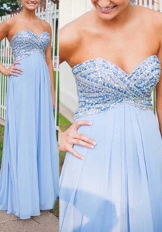 Gorgeous Sweetheart Light Sky Blue Beading Long Prom Dress