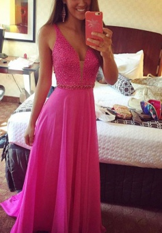 A-Line V-Neck Sleeveless Floor-Length Fuchsia Chiffon Prom Dress with Beading