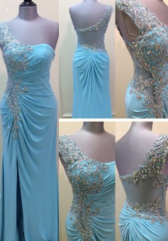 Elegant One Shoulder Beading Split Side Long Blue Prom Dresses Party Gowns CHPD-70957