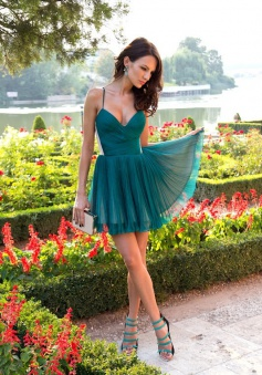 A-line Spaghetti Straps Short Chiffon Ruffles Green Prom Homecoming Dress