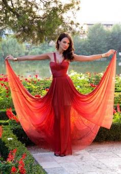 Fashion Spaghetti Burgundy Long  Chiffon Prom Evening Dress