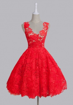 Vintage A-line Scoop Sleeveless Red/Green Backless Lace Knee-Length Prom Homecoming Dress