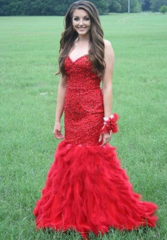 Modern Sweetheart Beading Red Mermaid Prom Dresses Party Gown