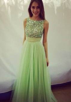 Elegant Scoop Beading A-line Tulle Green Floor-length Prom Dresses Evening Gown