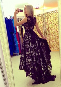 Elegant Scoop Black Lace High - low Prom Dresses Party Gowns With Ribbon