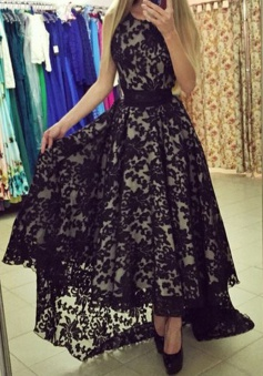 Black Lace High Low Prom Dress