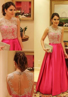 Gorgeous Crew Sheer With Lace Appliques A-line Satin Prom Dresses Formal Evening Gowns  SAPD-71118