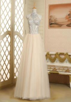 Elegant A-line Halter Neck Beading Sleeveless Tulle Prom Dress
