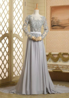 Chic A-line Scoop Neck Long Sleeves Beading Appliques Chiffon Prom Dress