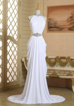 Sexy Column Long Halter Neck Slip White Chiffon Beading Prom Dress